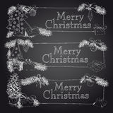 Hand drawn vintage Christmas banners Set Royalty Free Stock Image