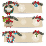 Hand drawn vintage Christmas banners Set Royalty Free Stock Photo