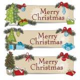 Hand drawn vintage Christmas banners Set Royalty Free Stock Photo