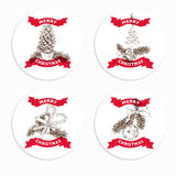 Hand drawn vintage Christmas banners Set Royalty Free Stock Images