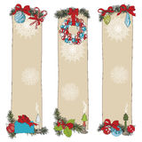 Hand drawn vintage Christmas banners Set Royalty Free Stock Photos