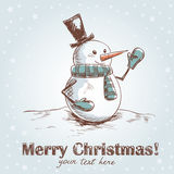 Hand drawn vintage christmas card. With funny smiling snowman wearing scarf, mittens and a hat Stock Illustration