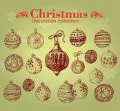 Hand drawn vintage christmas decoration. Stock Photo