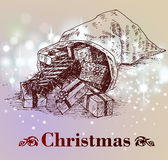 Hand drawn vintage christmas decoration. Royalty Free Stock Image