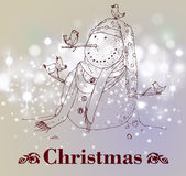 Hand drawn vintage christmas decoration. Royalty Free Stock Photo