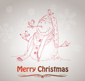 Hand drawn vintage christmas decoration. Royalty Free Stock Images