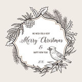 Hand drawn vintage christmas greeting card. Happy Stock Photography