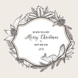 Hand drawn vintage christmas greeting card. Happy. New year 2016. Vector wreath of branches of different trees. Monochrome illustration Stock Photography