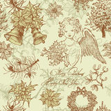 Hand drawn vintage Christmas seamless pattern Royalty Free Stock Image