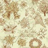 Hand drawn vintage Christmas seamless pattern Royalty Free Stock Image