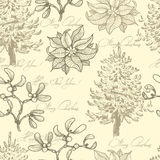 Hand drawn  vintage Christmas seamless pattern Stock Image