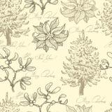 Hand drawn  vintage Christmas seamless pattern Stock Image