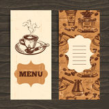 Hand drawn vintage coffee background. Menu for Royalty Free Stock Photos