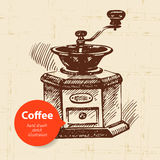 Hand drawn vintage coffee background Stock Images