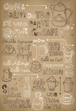 Hand drawn vintage coffee in French. Vintage coffee illustration with coffee related words in french and the background made by mesh tool Stock Images