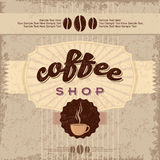 Hand Drawn Vintage Coffee Labels with beans Stock Images