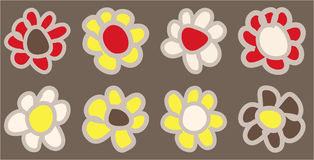 Hand drawn vintage coloured daisies Stock Image