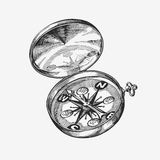 Hand-drawn vintage compass. Sketch journey, travel. Vector illustration Royalty Free Stock Image