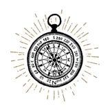 Hand drawn vintage compass vector illustration. Stock Photos