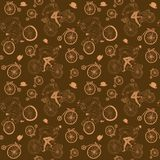 Hand drawn vintage cyclists pattern. Vector seamless pattern with hand drawn vintage bicycles Royalty Free Stock Images