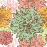 Hand drawn vintage dahlia  flowers  seamless pattern Royalty Free Stock Image