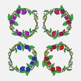Hand drawn Vintage decorative lovely set of laurels and flower wreaths Doodle ancient roses wreath, decorative design element Stock Images