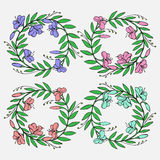 Hand drawn Vintage decorative lovely set of laurels and flower wreaths Doodle ancient wreath, decorative design element Royalty Free Stock Photos
