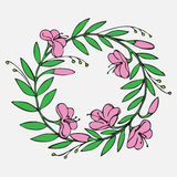 Hand drawn Vintage decorative lovely set of laurels and flower wreaths Doodle ancient wreath, decorative design element Stock Photo