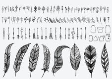 Hand drawn vintage design elements set including flowers,arrows,jars and zentangle feathers Stock Images
