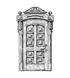 Hand drawn vintage door. Sketch vector illustration Stock Images
