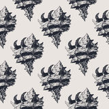 Hand drawn vintage exotic shell abstract pattern Royalty Free Stock Images