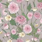Hand drawn vintage floral colorful seamless pattern with ranunculus flower. royalty free illustration