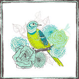 Hand drawn  vintage  floral decoration with bird Royalty Free Stock Photography
