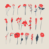 Hand Drawn vintage floral elements. For design royalty free illustration