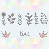 Hand Drawn vintage floral elements. Grey nature. Hand Drawn vintage floral elements.Grey nature set triangle backdrop Royalty Free Stock Image