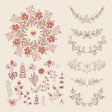 Hand Drawn vintage floral elements. Set of flowers. Decorative elements vector illustration