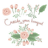 Hand Drawn vintage floral elements. Set of flowers. Stock Photo