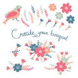 Hand Drawn vintage floral elements. Set of flowers. You can make your vintage floral bouquet Royalty Free Stock Photos