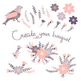 Hand Drawn vintage floral elements. Set of flowers. You can make your vintage floral bouquet Stock Images