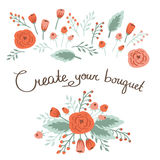 Hand Drawn vintage floral elements. Royalty Free Stock Photography