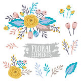 Hand Drawn vintage floral elements. Set of flowers. Stock Photos