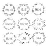 Hand drawn vintage floral elements Royalty Free Stock Photos
