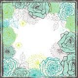 Hand drawn vintage  floral  frame in fresh tones Stock Image