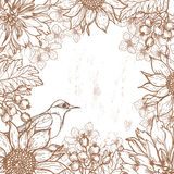 Hand drawn vintage floral frame Stock Photo