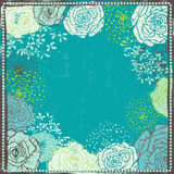 Hand drawn vintage  floral  frame in turquoise tones Stock Photo