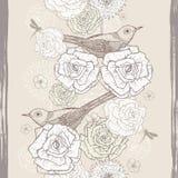 Hand drawn vintage  floral seamless border with birds Stock Photos