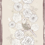 Hand drawn vintage  floral seamless border in craft paper tones Stock Photography