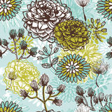 Hand drawn vintage floral  seamless pattern Royalty Free Stock Photography