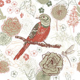 Hand drawn vintage floral seamless pattern with bird Royalty Free Stock Photography