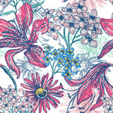 Hand drawn vintage floral seamless pattern Royalty Free Stock Photo